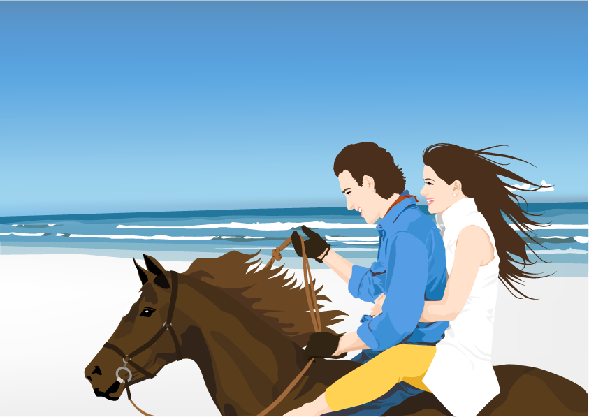 free vector Couple on the hourse free vector